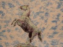 Pferde, Niedersachsen, Ini, Kupferstatue