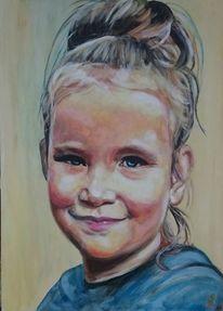 Portrait, Mädchen, Kind, Malerei