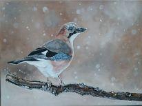 Vogel, Schnee, Malerei, Leise