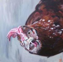 Huhn, Henne, Hühnchen, Malerei