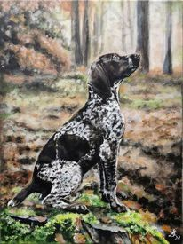 Hund, Wald, Jagdhund, Malerei