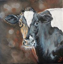 Kuh, Holsteiner, Dämmerung, Malerei