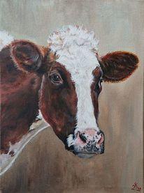 Kuh, Kuhporträt, Holsteiner, Malerei