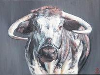 Kuhportrait, Rind, Kuh, Malerei