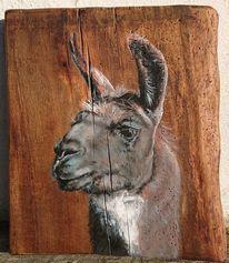 Lama, Holz, Eichenbrett, Malerei