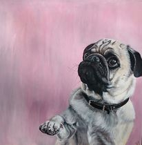 Hund, Mops, Rosa, Malerei
