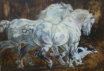 Pferde, Windhund, Kaltblut, Hund