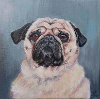 Hund, Mops, Portrait, Malerei