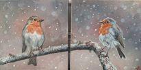 Rotkehlchen, Vogel, Schnee, Malerei
