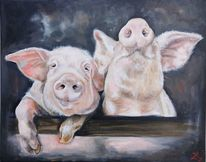 Schwein, Ferkel, Malerei,