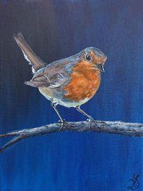 Blau, Vogel, Rotkehlchen, Malerei