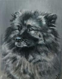 Hundeportrait, Fell, Hund, Malerei