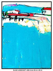 Herbst, Gemälde, Acrylmalerei, Blau