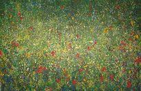 Blumenwiese, Grün, Rot, Klimt