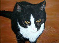 Katze, November, Schwarz weiß, Malerei