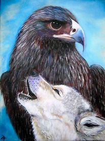 Wolf, Falke, Malerei