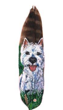 Weiß, Westi, Hund, Malerei