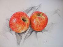 Buntstiftzeichnung, Apfel, Früchte, Obst