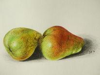 Stillleben, Buntstiftzeichnung, Früchte, Zeichnung