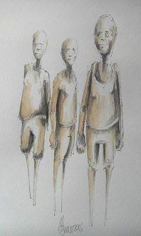 Figural, Aquarellmalerei, Freunde, Zeichnung