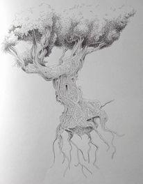 Zeichnung, Fantasie, Schwarzweiß, Märchen