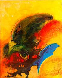 Acrylmalerei, Rot, Gelb, Blau