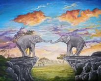 Afrika, Felsen, Elefant, Malerei