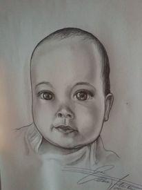Mädchen, Baby, Kind, Malerei