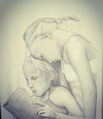 Kinder, Lesen, Buch, Malerei