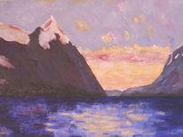 Berge, Wolken, Bergsee, Himmel