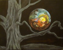 Acrylmalerei, Mond, Nacht, Märchen