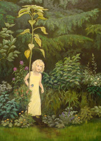Pflanzen, Kind, Acrylmalerei, Natur