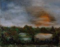 See, Landschaft, Himmel, Malerei