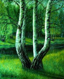 Birken, Baum, Malerei, Pflanzen