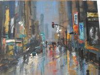 Regen, Zwielicht, Auto, Straße