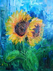 Sonnenblumen, Gelb, Blau, Malerei