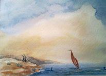 Aquarellmalerei, Aquarell, Boot, Meer
