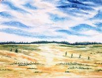 Herbst, Landschaft, Aquarellmalerei, Aquarell