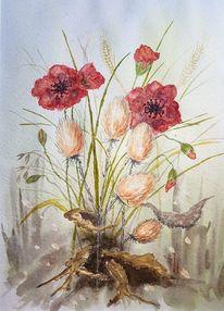 Aquarellmalerei, Blumen, Pflanzen, Aquarell