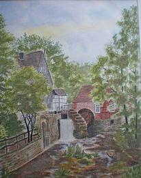 Aquarell, Schwarzwald, Mühle
