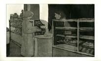 Radierung, Bäckerei, Menschen, Aquatinta