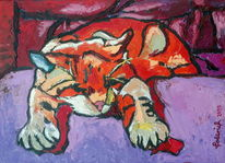 Katze, Tiger, Rocky, Malerei