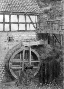 Freilichtmuseum, Bleistiftzeichnung, Antik, Bauernhof