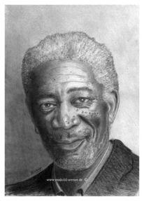 Bleistiftzeichnung, Portrait, Morgan freeman, Realismus