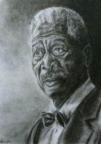 Portrait, Zeichnung, Malen, Kohlezeichnung