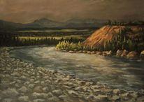 Landschaft, Gemälde, Spiegelung, Berge