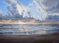 Landschaft, Strand, Malerei, Wasser