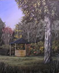 Gemälde, Baum, Blumen, Acrylmalerei