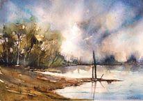 Landschaft, Ufer, Wasser, Aquarellmalerei