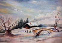 Landschaft, Aquarellmalerei, Winter, Weg